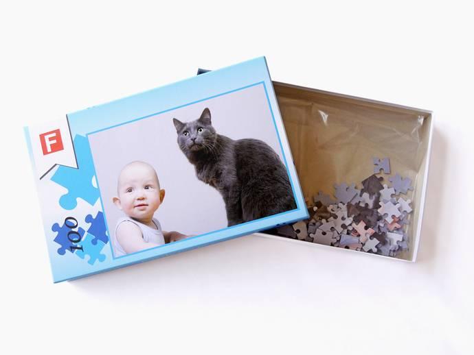 Fotopuzzel 19x28 cm met 100 stukjes in doos